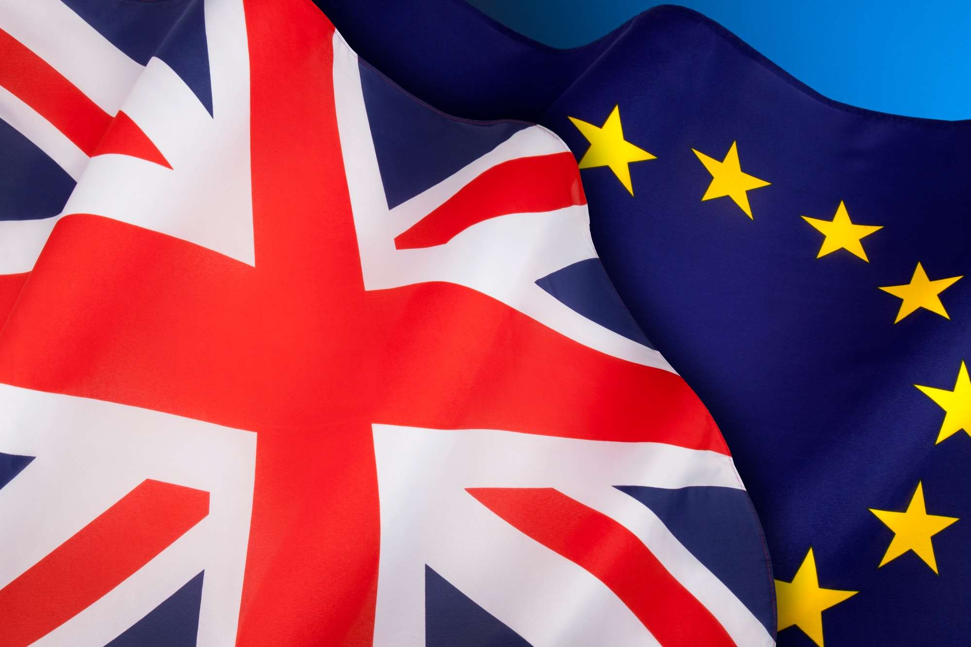 BREXIT - The flags of the United Kingdom of Great Britain and the European Union.