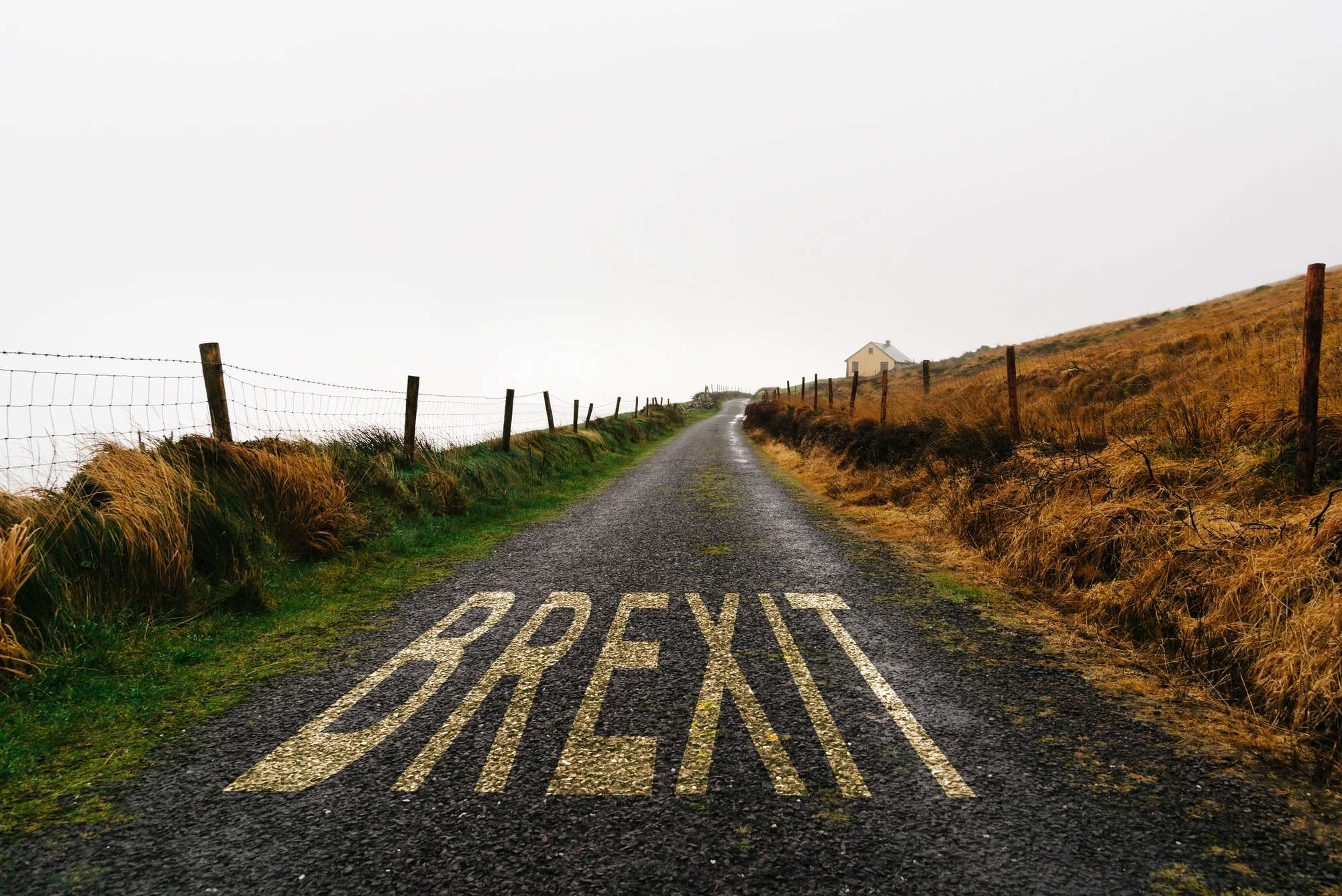 Concept of BREXIT. Road marking with the word Brexit painted on remote road a misty day